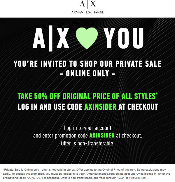 Armani Exchange Coupon August 2020 50% off online at Armani Exchange via promo code AXINSIDER