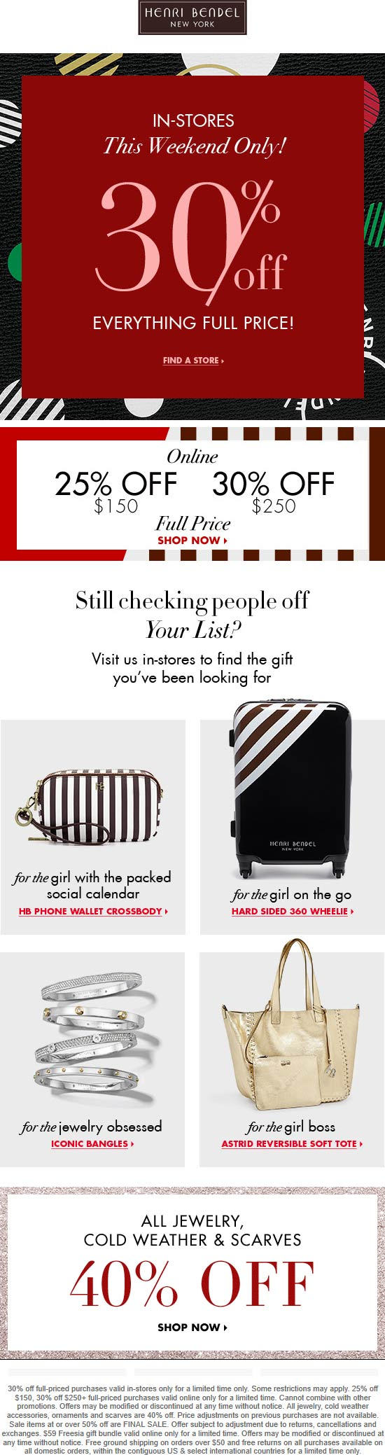 Henri Bendel Coupon July 2020 30% off & more at Henri Bendel, ditto online