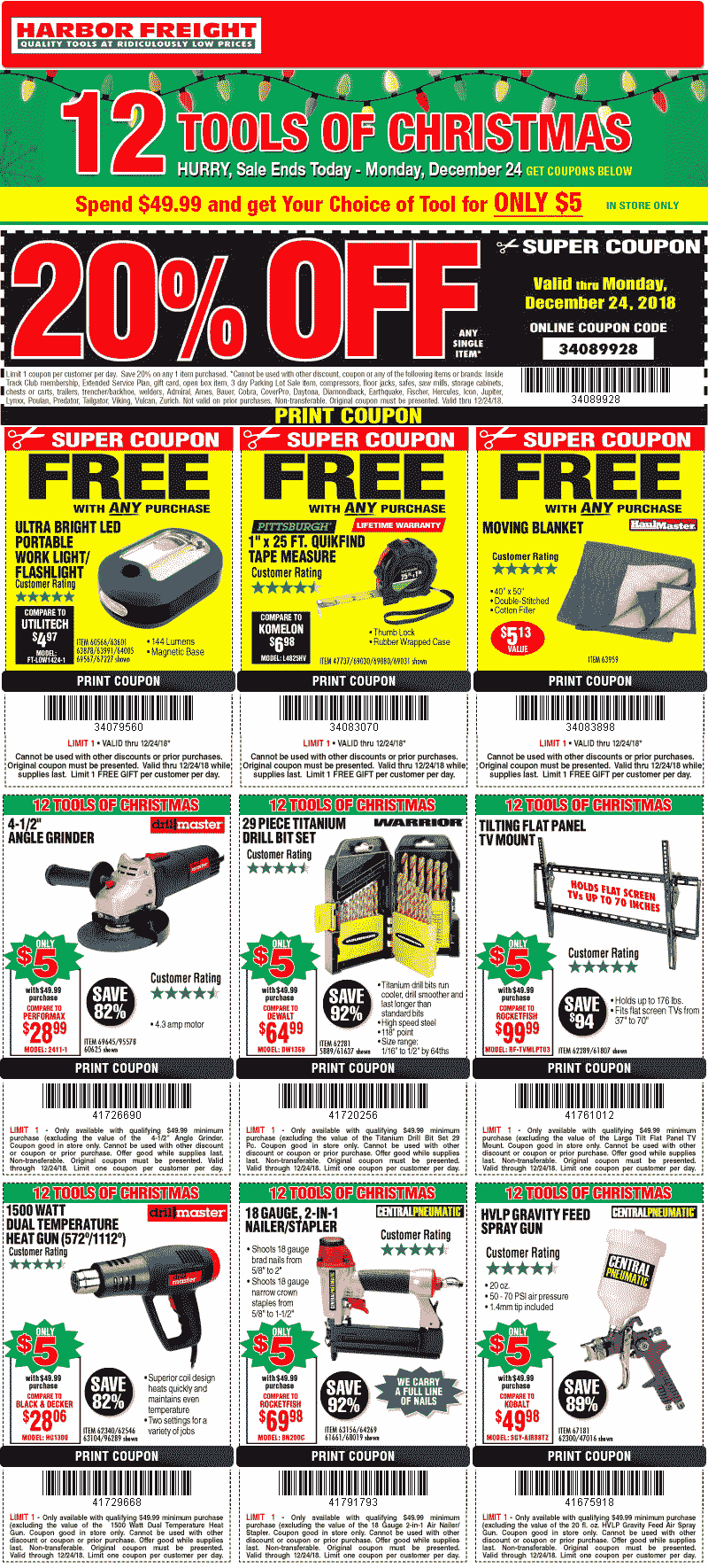 Harbor Freight Coupon February 2020 20% off a single item today at Harbor Freight Tools, or online via promo code 34089928