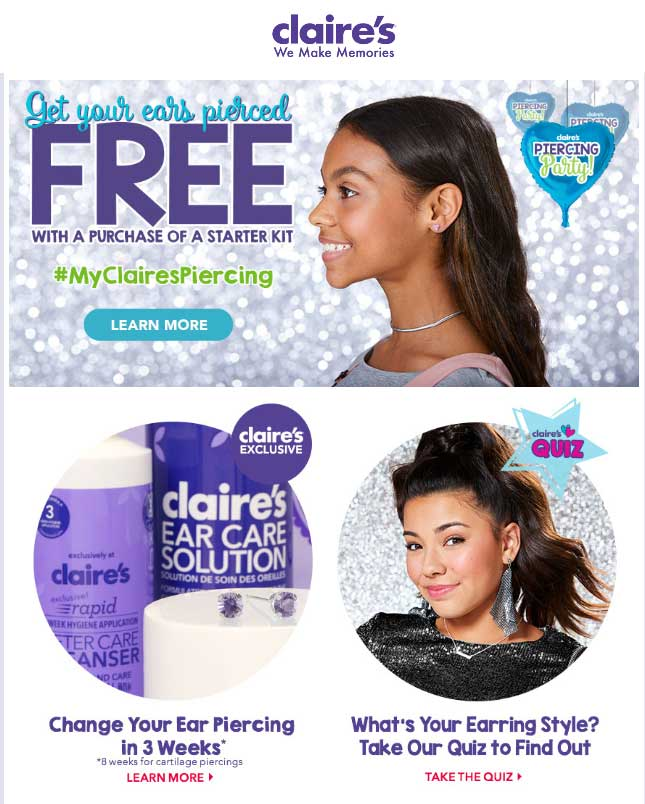 Claires Coupon August 2020 Free ear piercing with your starter kit at Claires