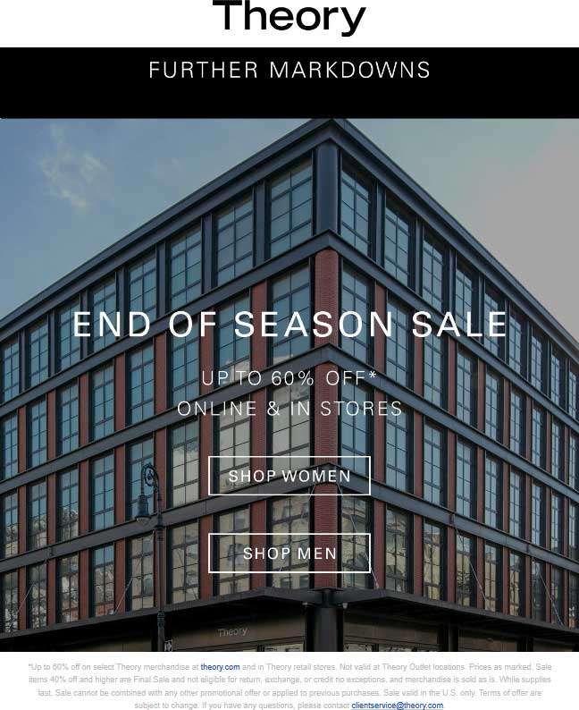 Theory Coupon August 2020 60% off sale going on at Theory, ditto online