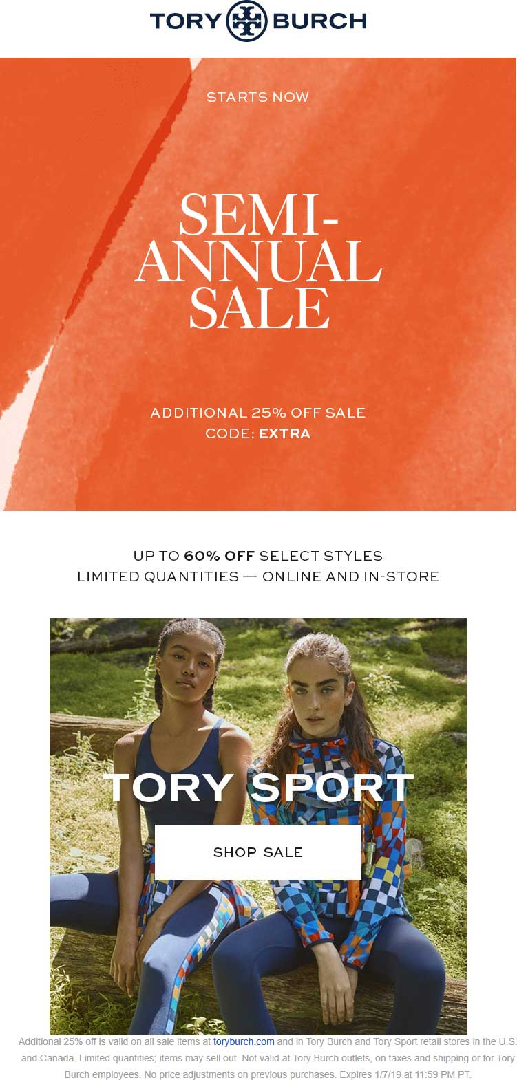 Tory Burch Coupon August 2020 Extra 25% off sale items at Tory Burch, or online via promo code EXTRA