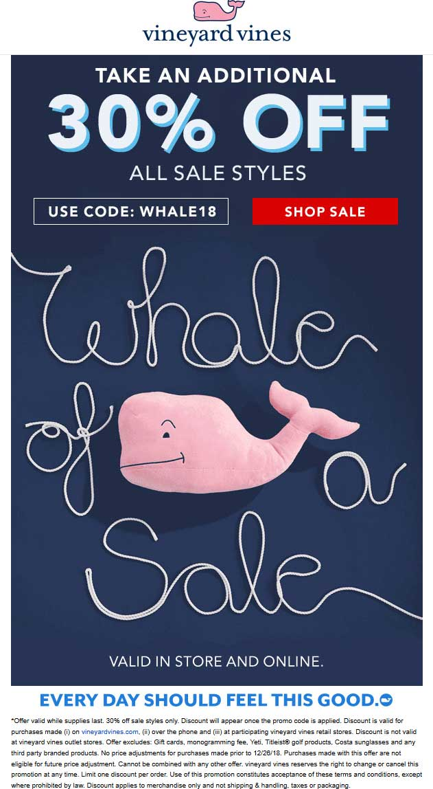 Vineyard Vines Coupon August 2020 Extra 30% off sale items at Vineyard Vines, or online via promo code WHALE18