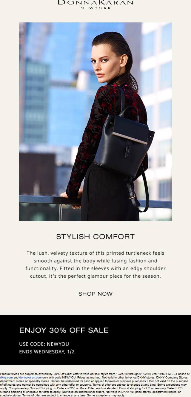 Donna Karan Coupon August 2020 30% off sale items online at Donna Karan via promo code NEWYOU