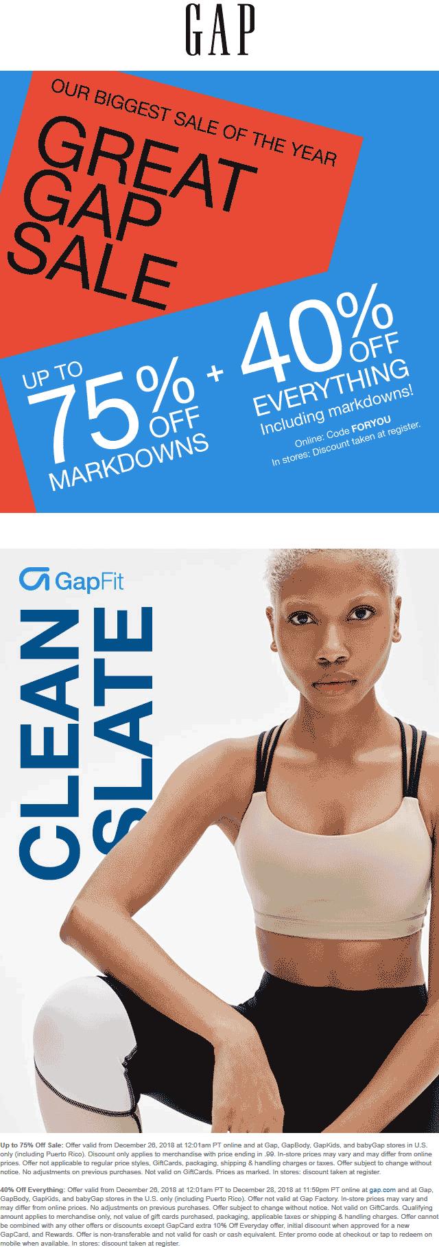 Gap coupons & promo code for [April 2020]