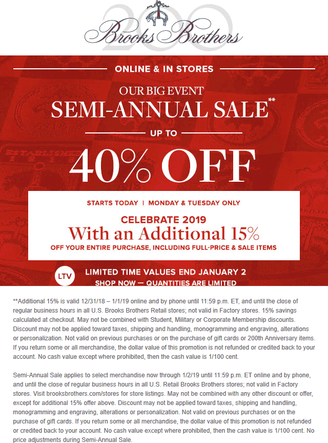 Brooks Brothers Coupon August 2020 Extra 15% off & more at Brooks Brothers, ditto online