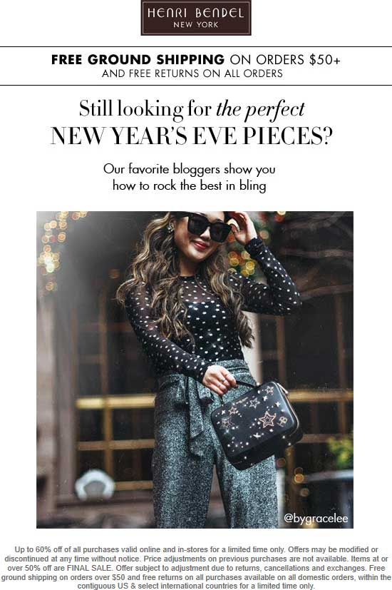 Henri Bendel Coupon June 2020 60% off everything at Henri Bendel, ditto online