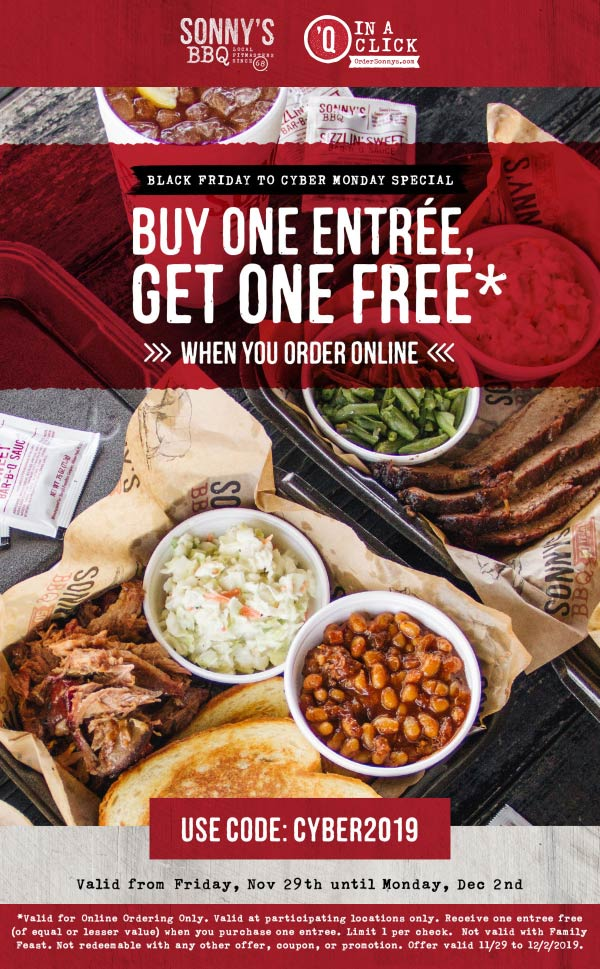 Sonnys BBQ coupons & promo code for [January 2021]