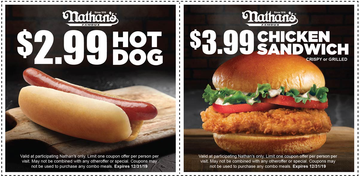 Nathans Famous coupons & promo code for [March 2020]