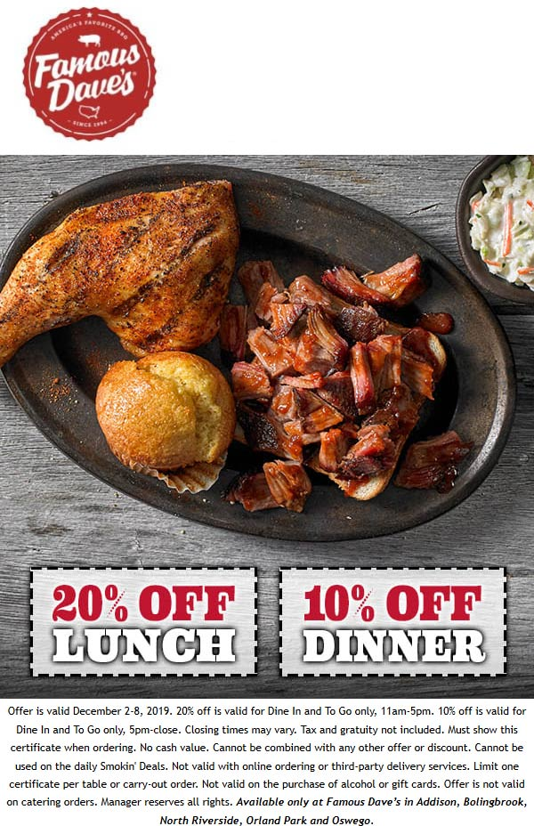 Famous Daves coupons & promo code for [April 2021]