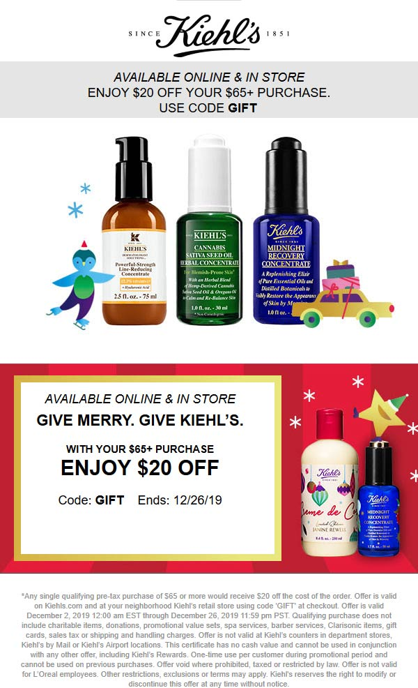 Kiehls coupons & promo code for [January 2021]