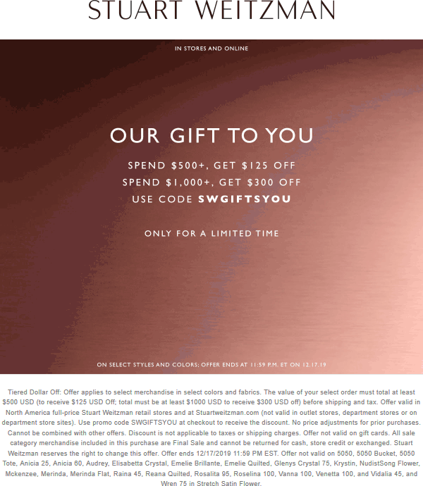 Stuart Weitzman coupons & promo code for [April 2021]