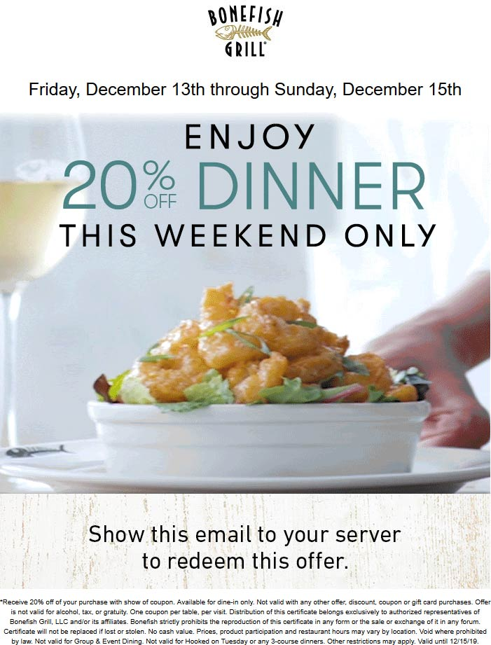 Bonefish Grill coupons & promo code for [September 2020]