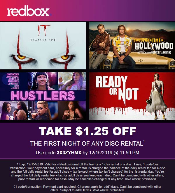 Redbox coupons & promo code for [July 2020]