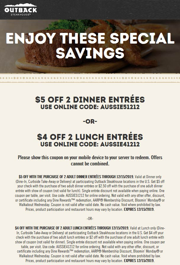 Outback Steakhouse coupons & promo code for [April 2021]