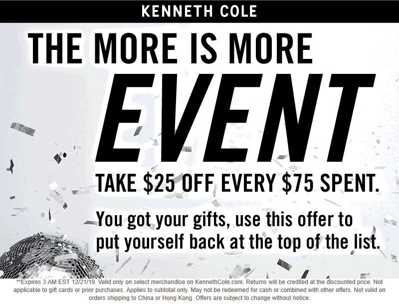 Kenneth Cole coupons & promo code for [January 2021]