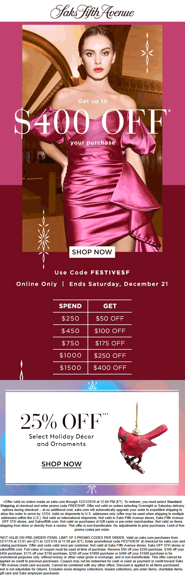 Saks Fifth Avenue coupons & promo code for [January 2021]