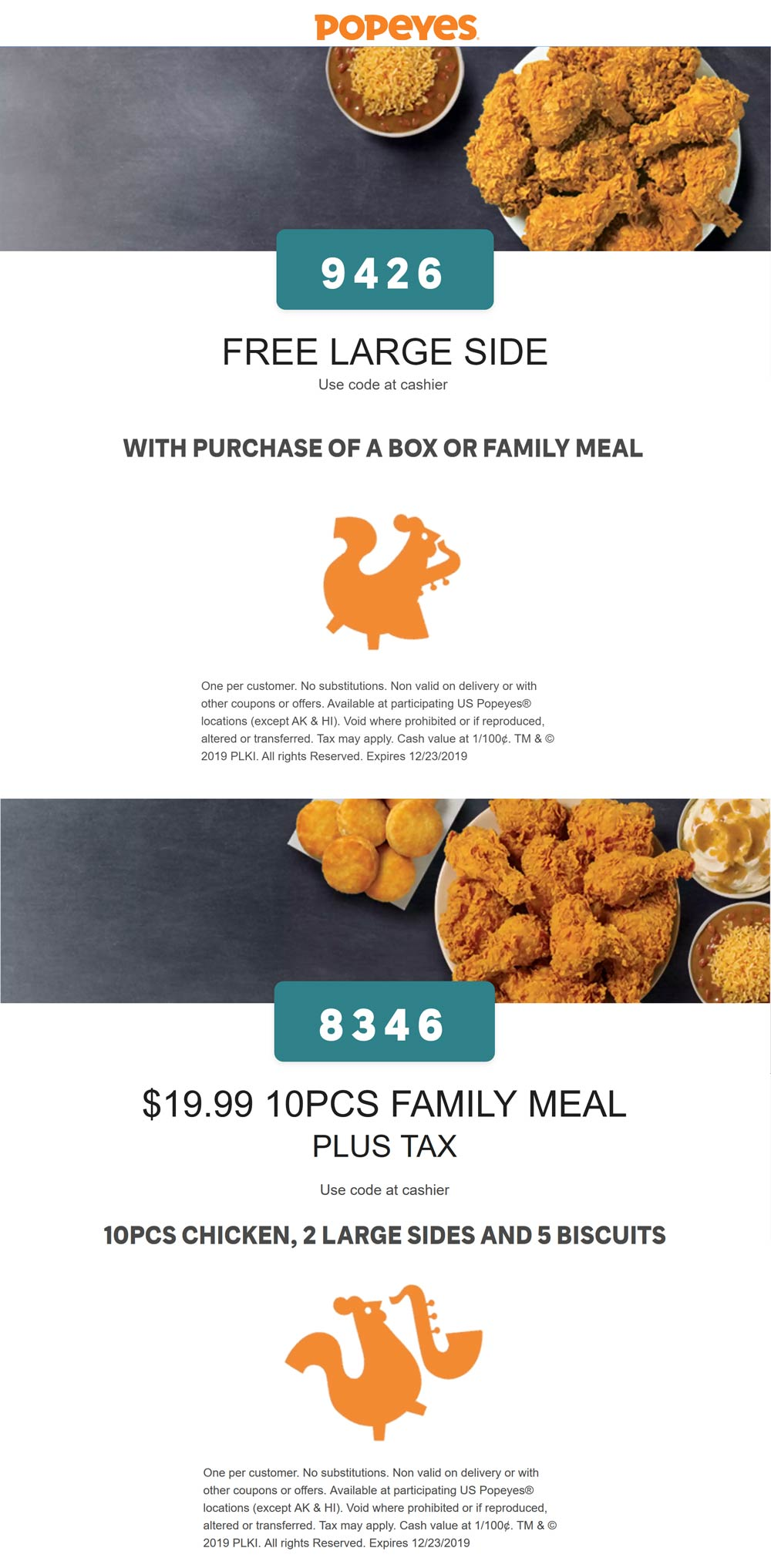 Popeyes coupons & promo code for [December 2020]
