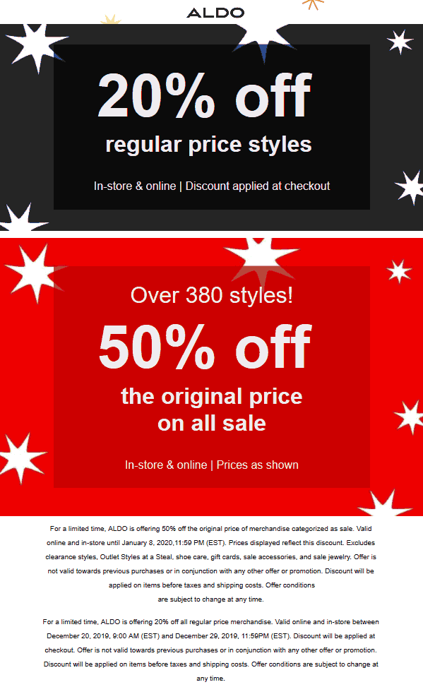 Aldo coupons & promo code for [July 2020]