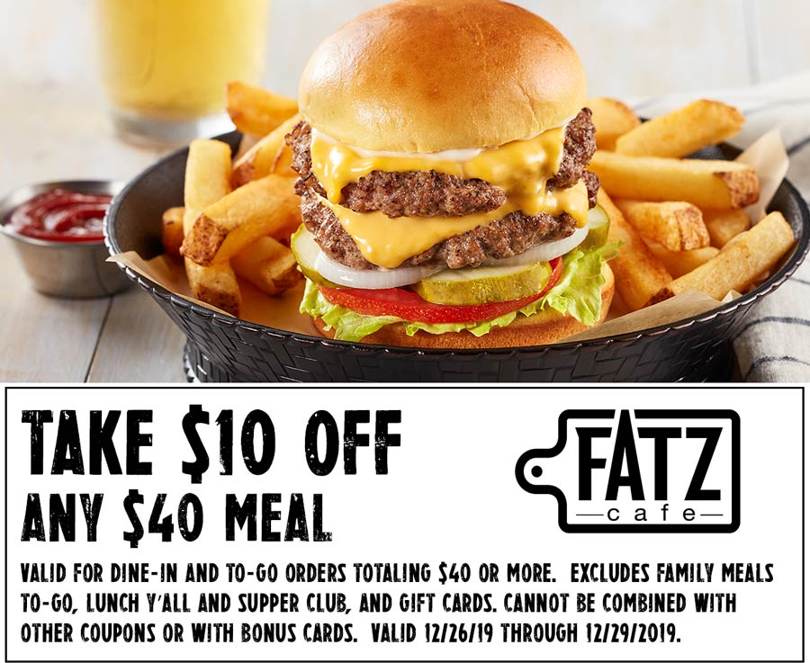 Fatz Cafe coupons & promo code for [January 2021]