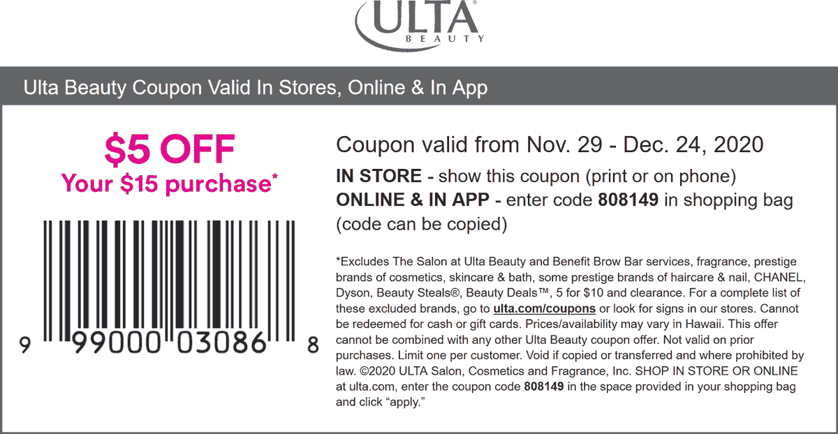 Ulta Beauty stores Coupon  $5 off $15 at Ulta Beauty, or online via promo code 808149 #ultabeauty