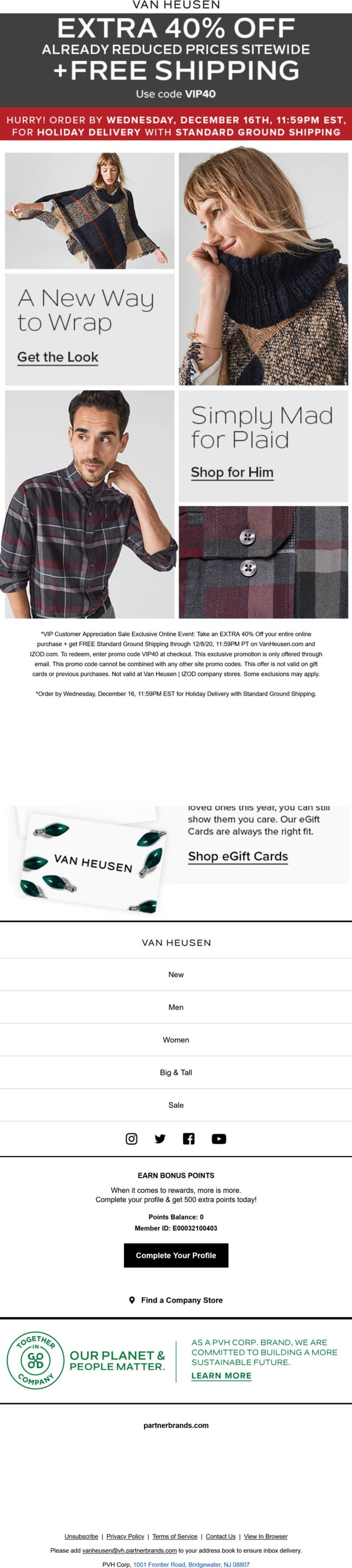 Van Heusen stores Coupon  Extra 40% off everything at Van Heusen via promo code VIP40 #vanheusen