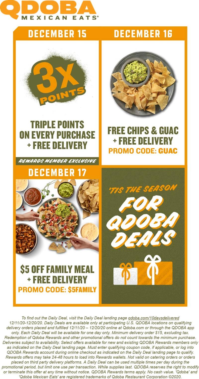 Qdoba restaurants Coupon  Free chips + guac + delivery Weds & $5 off family meal Thur at Qdoba via promo code GUAC & $5FAMILY #qdoba