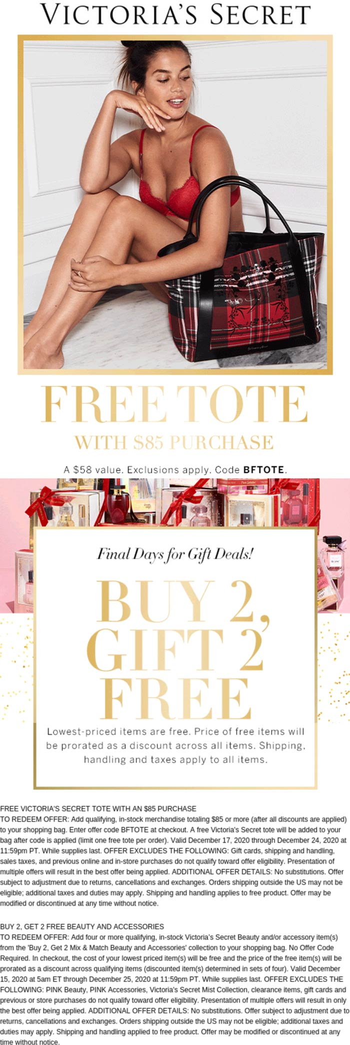 Victorias Secret stores Coupon  Free tote with $85 spent & 4-for-2 on beatuy and accessories at Victorias Secret via promo code BFTOTE #victoriassecret
