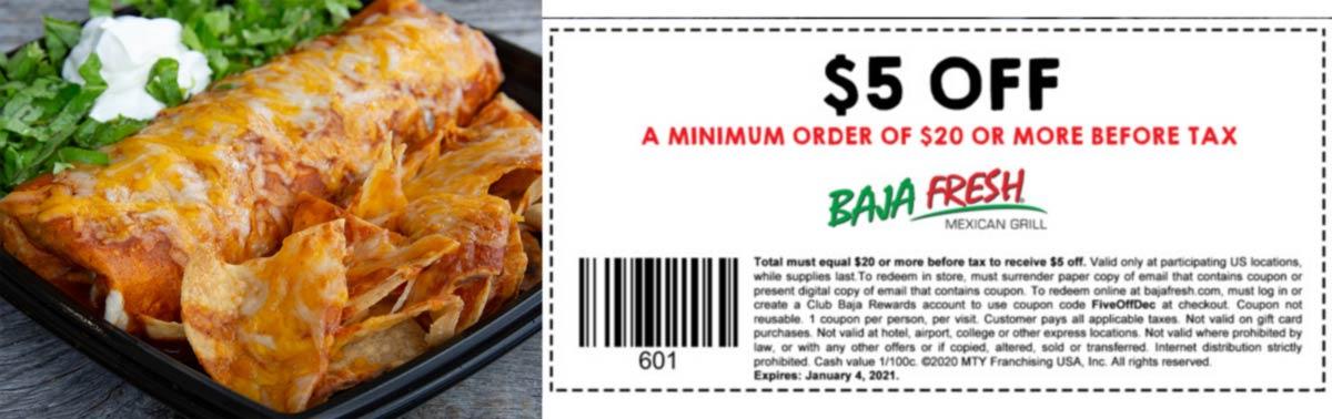 Baja Fresh restaurants Coupon  $5 off $20 at Baja Fresh Mexican grill #bajafresh