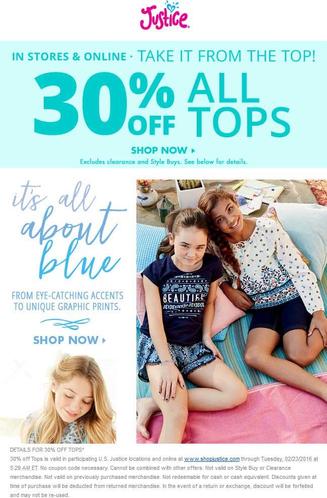 Justice Coupon June 2020 30% off tops at Justice, ditto onine