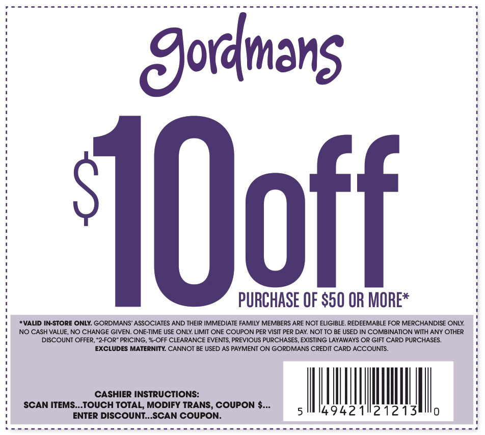 photo relating to Gordmans Printable in Store Coupons named Gordmans Discount codes - $10 off $50 at Gordmans