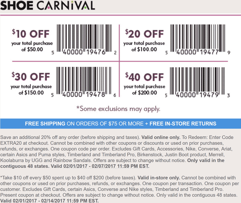 image relating to Shoe Carnival Coupon Printable named Shoe carnival on the web coupon code - Exercise gyms inside st louis