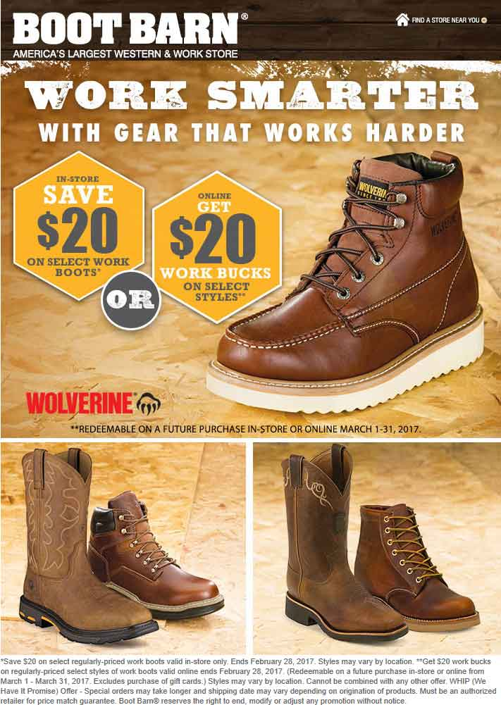 b58a19882dc22 Boot Barn Coupons 20 Off Work Boots At Boot Barn Or 20 Store