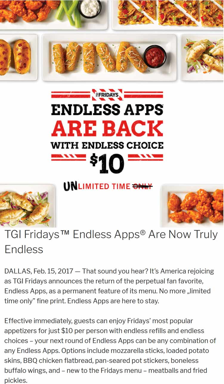 TGI Fridays Coupons - Endless apps for $10 are permanently back at