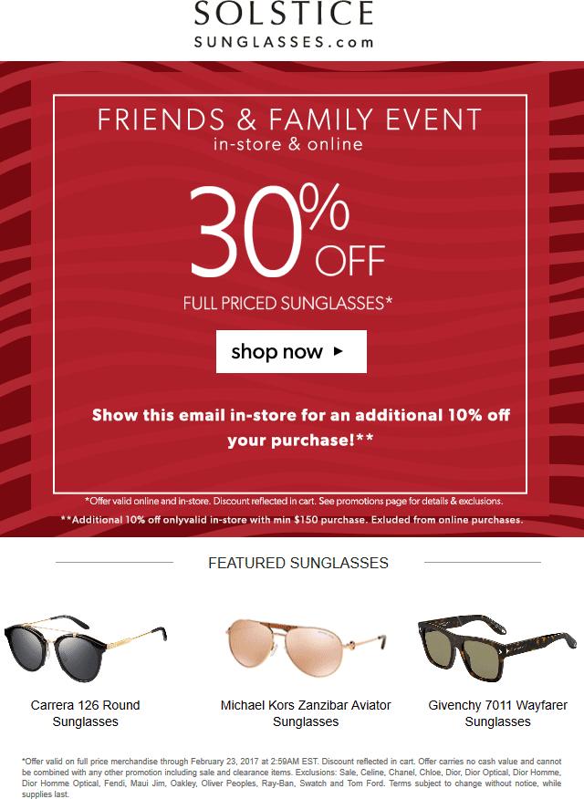 c8cae219ea Solstice Sunglasses Coupon April 2019 30-40% off shades at Solstice  Sunglasses