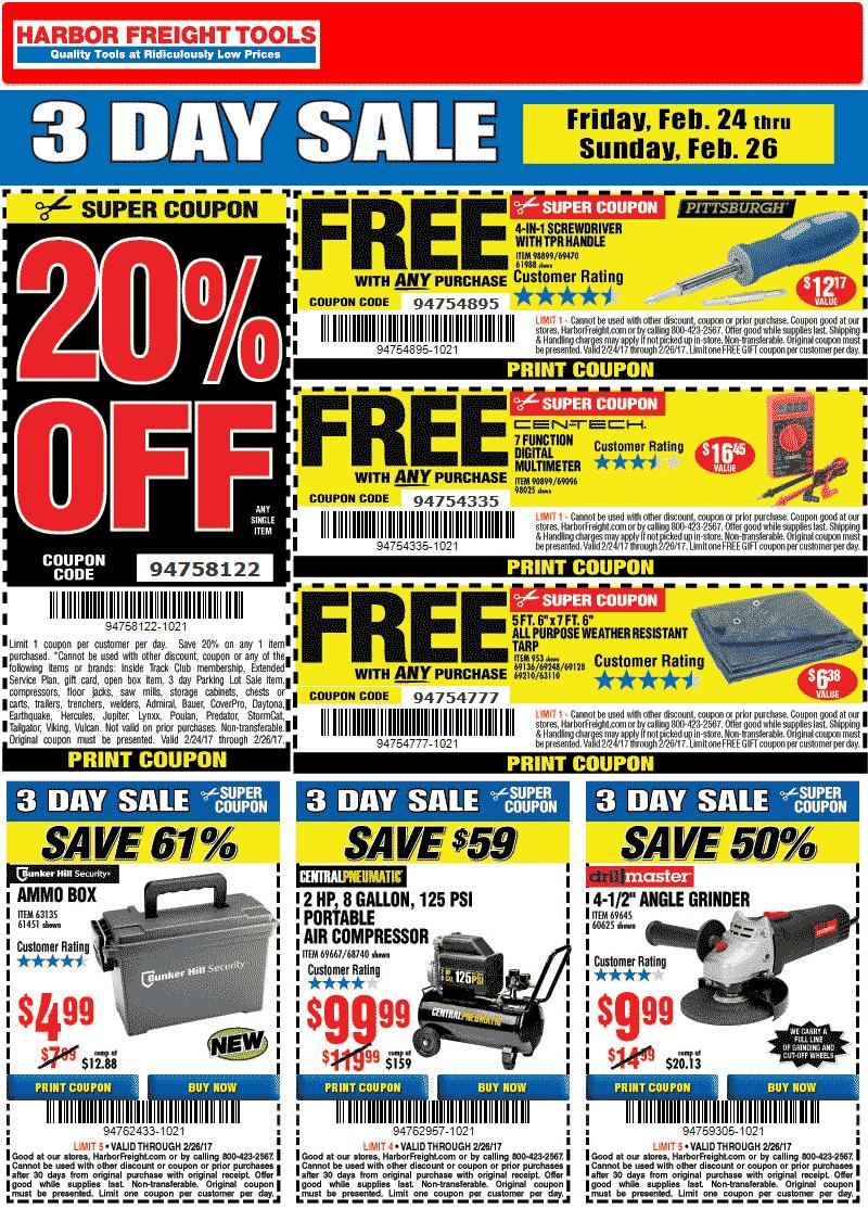 Harbor Freight Tools coupons - Free digital multimeter,