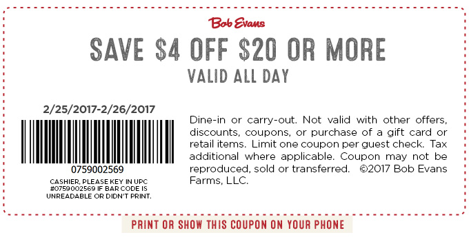 graphic relating to Bob Evans Coupons Printable called Bob Evans Coupon codes - $4 off $20 at Bob Evans places to eat