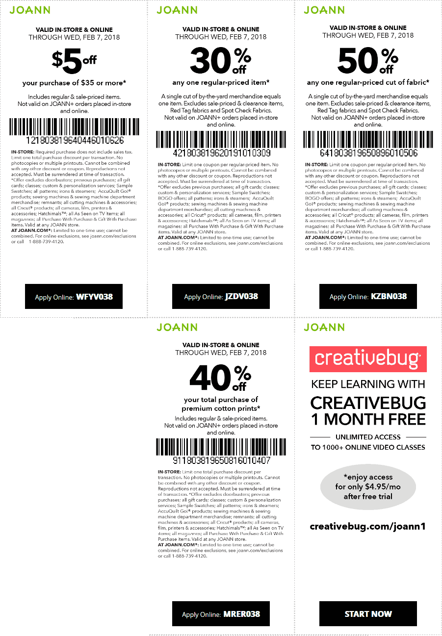 Jo-Ann Fabric Coupon February 2020 30% off a single item at Jo-Ann Fabric, or online via promo code JZDV038