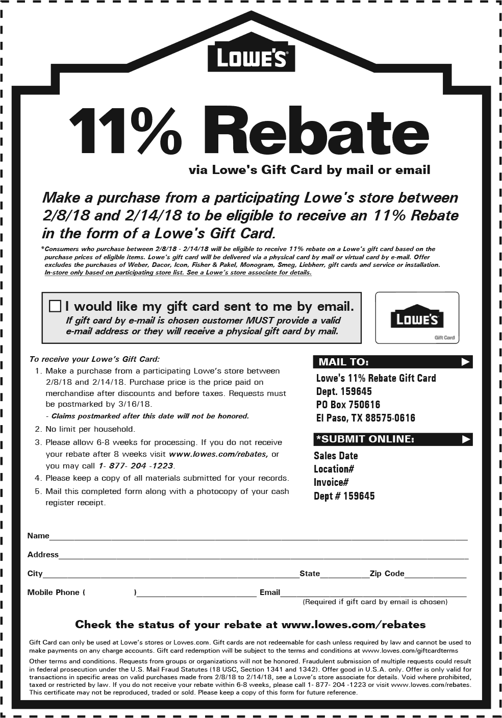 Lowes Coupon February 2020 11% rebate on purchases made thru the 14th at Lowes