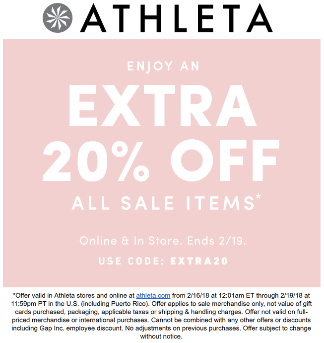 Athleta Coupon February 2020 Extra 20% off sale items today at Athleta, or online via promo code EXTRA20