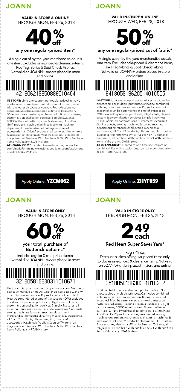 Jo Ann Coupon 40 Off Joann Coupons Promo Codes Deals