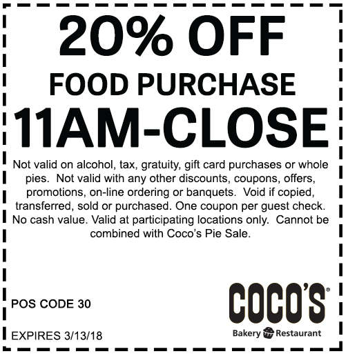 Coco's Bakery Restaurant Related Coupons