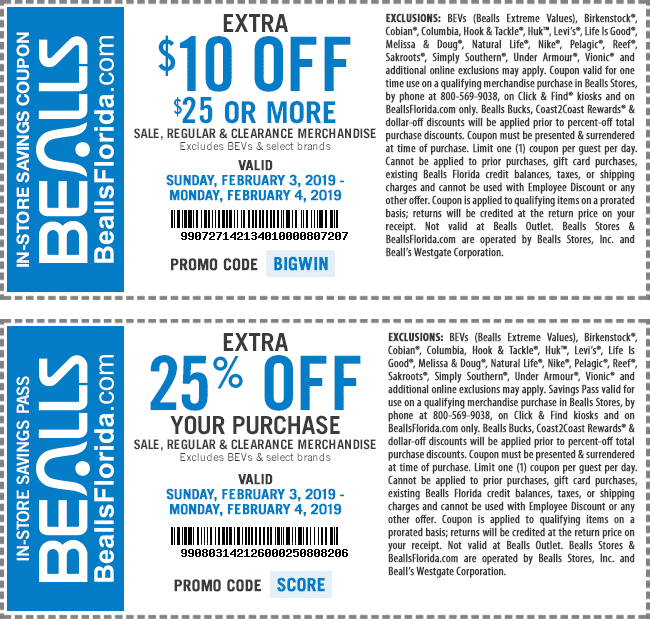 Bealls Coupon February 2020 $10 off $25 & more at Bealls, or online via promo code BIGWIN