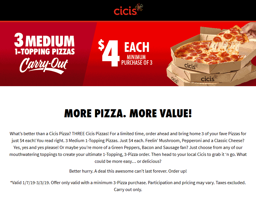 CiCis Pizza coupons & promo code for [August 2020]