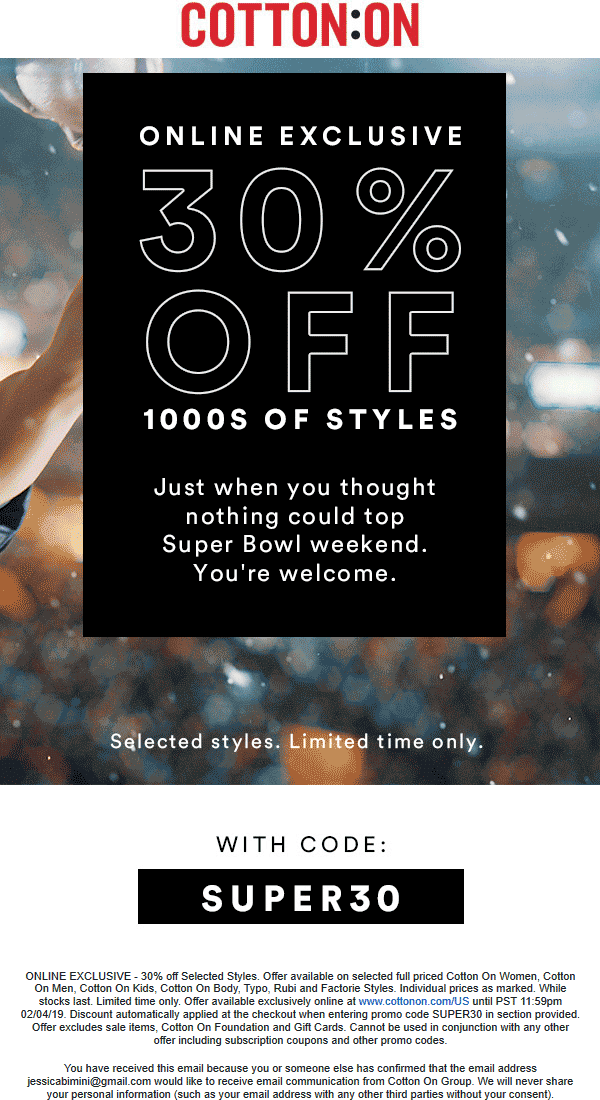 Cotton On coupons & promo code for [April 2020]