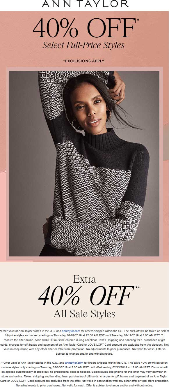 Ann Taylor Coupon February 2020 40% off at Ann Taylor, ditto online