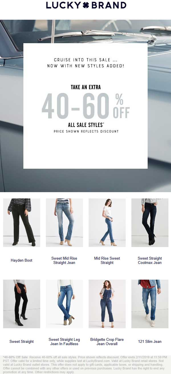 Lucky Brand Coupon February 2020 Extra 40-60% off sale items at Lucky Brand, ditto online