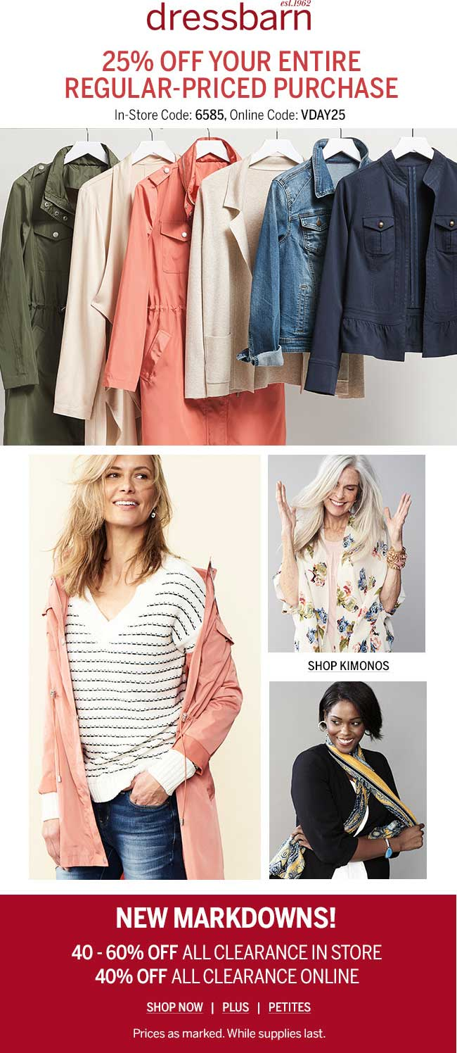 Dressbarn Coupon February 2020 25% off at Dressbarn, or online via promo code VDAY25