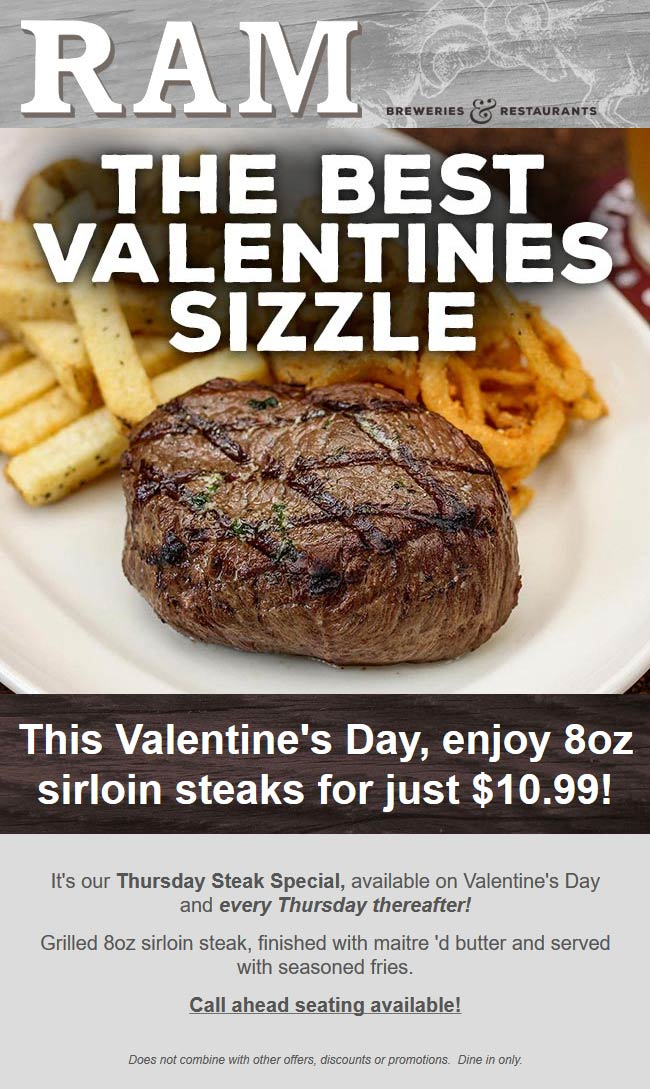 RAM Coupon February 2020 $11 sirloin steaks at RAM breweries & restaurants