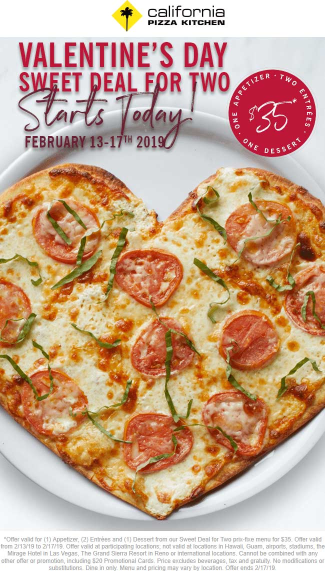 California Pizza Kitchen coupons & promo code for [April 2021]